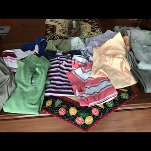 Bundle of polo tops, 3 riding pants, 2 show shirts